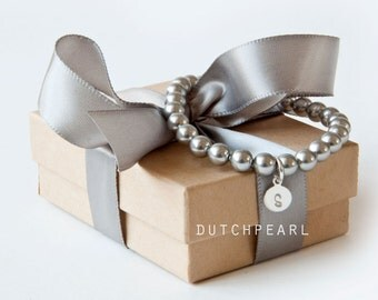 SILVER GREY 6mm pearl bracelet - bridesmaid gift monogram charm personalized wedding jewelry personal charcoal - will you be my bridesmaid