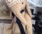 Gold is a vintage style whimsical elephant artist mohair teddy bear by Olive Grove Primitives