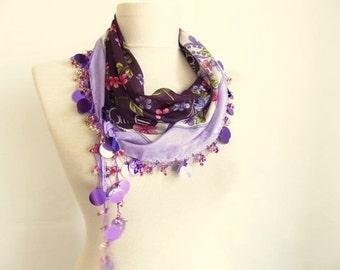 scarf ,Turkish Oya Scarf // wedding-bridal - halloween-asuhan