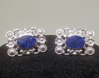 Vintage Man's 1960's-1970's DANTE Silver & Marbled Cobalt Blue Glass Cuff Links-Mad Men