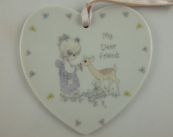"Vintage Precious Moments Heart Ornament ""My Deer Friend"" 1988"