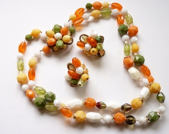 Vintage West Germany Necklace Earrings Orange, Yellow, White, Green Beads