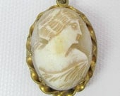 Antique Carved Shell Roman Cameo Locket