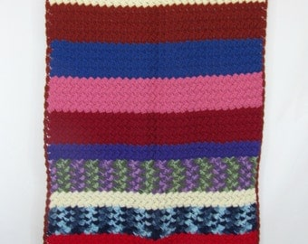Gorgeous Vintage Multicolored Striped Hand Knitted Crocheted Throw Blanket
