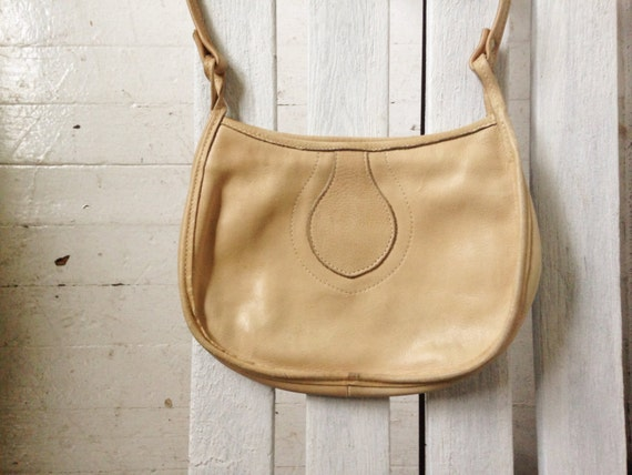 SALE vintage tan leather purse, small southwestern purse, little boho bag