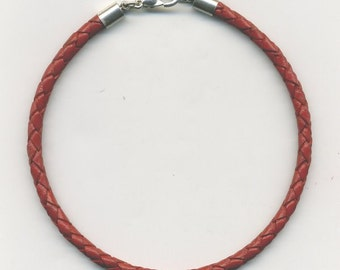 Red Braided Leather Cord Necklace- Sterling Silver Caps and Clasp