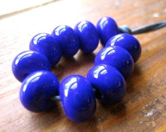 Cobalt Blue Lampwork Spacer Beads, FHFteam, SRA, UK Seller