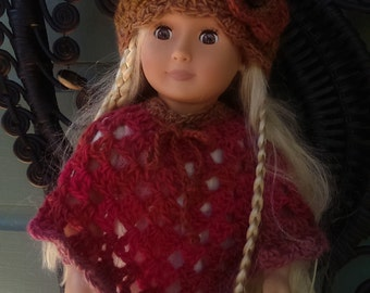American Girl Crocheted Rockin' Retro Poncho and Beanie Set in Warm Colors