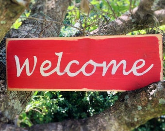 10x4 Welcome (Choose Color) Rustic Shabby Chic Sign
