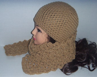 Tan Crochet Beanie Hat and Scarf Set, Womans Accessories, Gifts for Her