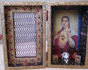 Virgin Mary nicho, altar, Catholic folk art, shrine, assemblage, shadow box
