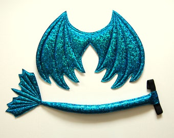 Dragon Wings and Tail SET, Teal Blue Green, kids dress up wings, wire free, dragon costume, cosplay