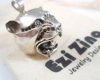 Genuine Ezi Zino Tiger panther head Black Diamonds 0.46 ct  box chain necklace pendant solid sterling silver 925
