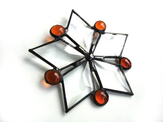 Star suncatcher, stained glass suncatcher, tangerine orange, window art, decorative ornament, modern star ornament