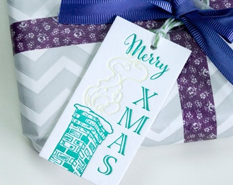SALE - Letterpress Xmas Gift Tags 8pk - Chimney Candle -50% off