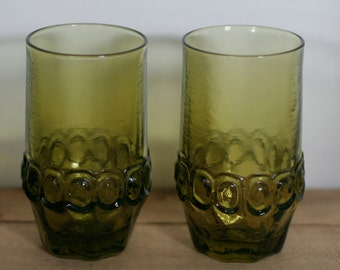 vintage franciscan madiera green glasses set of two