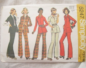 1970s Simplicity 5247 Safari Jacket Tunic and Pants Trousers Vintage Sewing Pattern Bust 39 Bust 40 Half Size Pattern