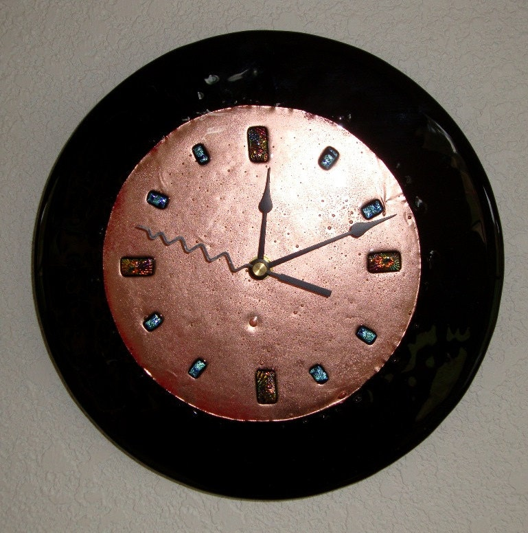 Fused glass copper wall clock black 9 inch round for Fused glass wall clocks