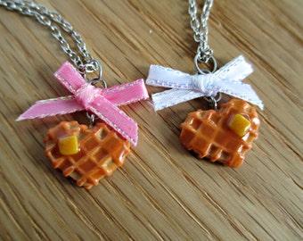 Heart Waffle Necklace - Miniature Food Jewelry - Tiny Food Jewelry