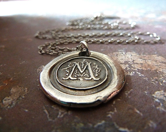 Personalized Wax Seal Silver Monogram Initial Necklace. A Letter from Mr. D'arcy. Wax Seal Letter Pendant