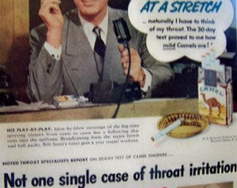 Camel's ad Bill Stern Sportscaster no irritation to the throat! ad