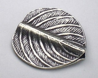 Stunning 20mm Leaf Bead Hill Tribe Fine Silver HT-188