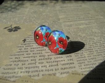 Vintage Style Red Poppy Earrings