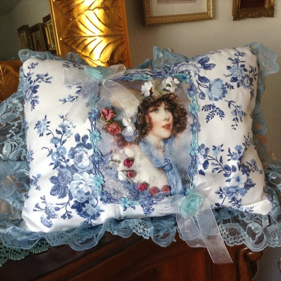 Victorian Lady Pillows : Throw pillow with image of Victorian lady