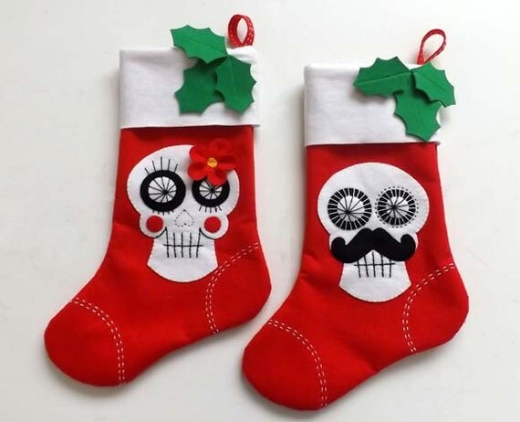 2x Christmas Stockings His & Hers Sugar Skulls