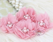 NEW: 4 pcs Aubrey MISTY ROSE - Soft Chiffon with pearls and rhinestones Mesh Layered Small Fabric Flowers, Hair accessories