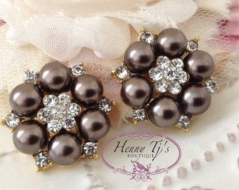 6 pcs - 25mm Gold Metal Crystal Rhinestone Dark Brown Pearl Buttons with FLAT back - wedding / hair / dress / garment accessories