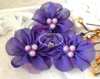 NEW: 4 pcs Lavinia PURPLE Soft Chiffon and Tulle w/ pearls Ruffled Fabric Flowers, Hair accessories. Headband Flowers. Scrapbooking.
