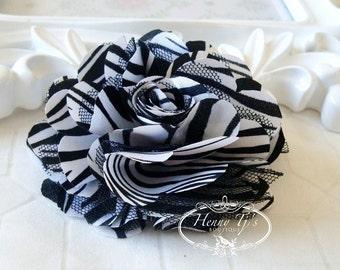 2 pcs- 3'' Satin mesh silk flowers flat back wedding bridal bridesmaid brooch flowers - ZEBRA print black With White satin