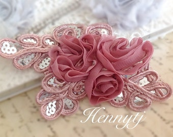 """NEW: """"DIRTY PINK / Dark Salmon"""" Chiffon and Sequins Leaf Polyester Fabric Rose Appliques. Hair accessories"""