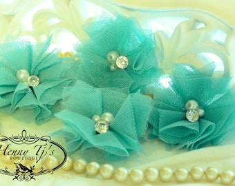 Elena TULLE : 4 pieces Tropical Aqua Blue Small Tulle Mesh Flowers With rhinestone Pearl Center Poof Flowers Hair accessories