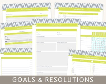 Goals Planner: Goal Setting & New Year's Resolutions, 9 Printable Templates, Editable PDF Worksheets, A4 and Letter Size,  Instant Download