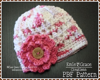Flower Hat Crochet Pattern, 8 Sizes from Newborn to Adult, KENDALL - pdf 230