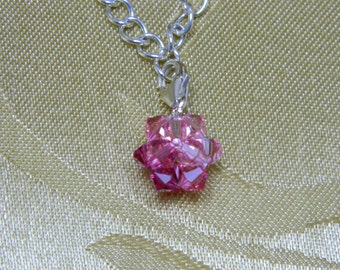 Swarovski Ombre Pink Crystal Charm With Sterling Silver Lobster Claw Clasp/Bridesmaid Jewelry/Holiday Charm