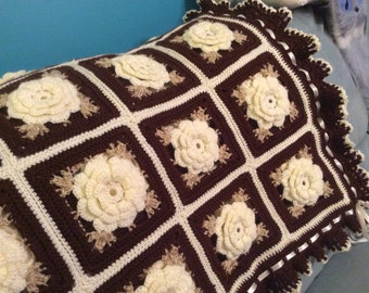 Cream Ivory Rose Crocheted Afghan - Made Fresh after sale - 48 squares