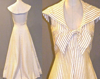 1970s Open Back Maxi Party Dress, Metallic Gold Striped 70s Formal Dress, Vintage Disco