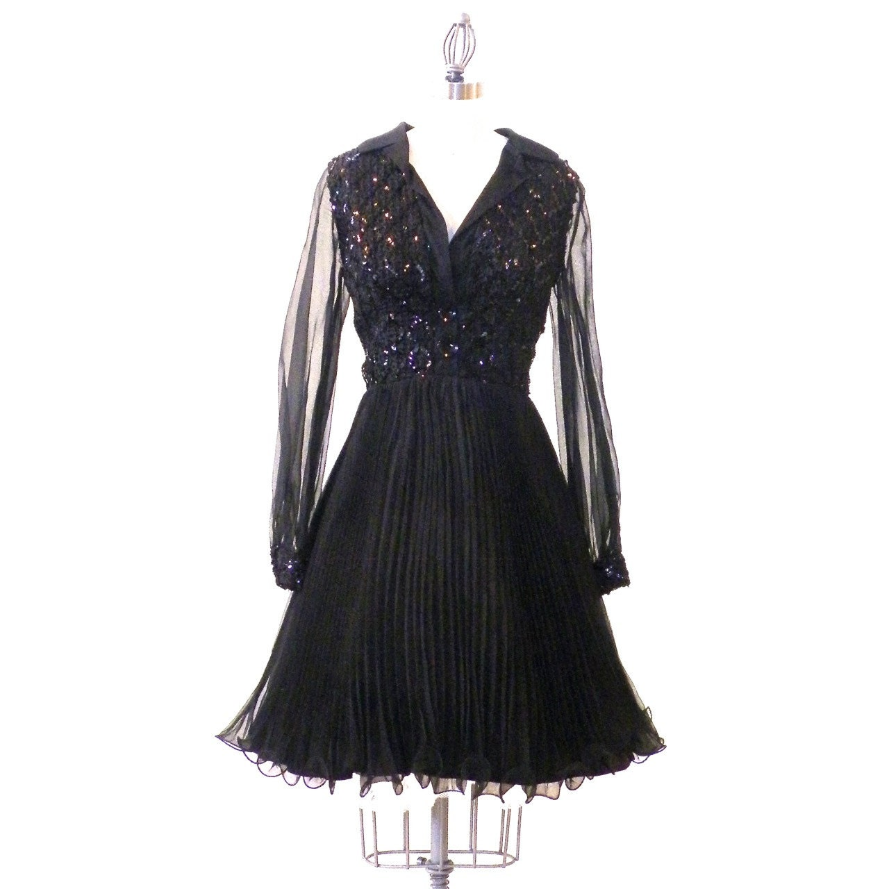Beaded Gowns Tagged 100 200 The Deco Haus: Vintage LBD 1960s Black Cocktail Party Dress Pleated Sequin