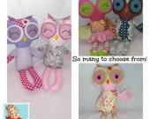 Handmade stuffed Owl Doll, Plush Owl, Cloth Owl, Made to order