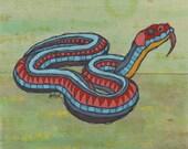 Two Piece Original Colorful Garden Snake Acrylic Painting on Poplar Wood