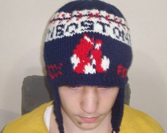 Boston Red Sox, Personalized Gift for Boyfriend, for Mom, Friend, Women, Men, Husband, Personalized Hand Knit Hat, Blue, Red, White