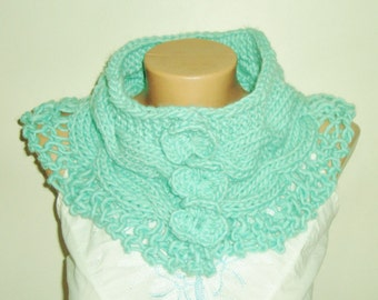 unique handmade scarves in mint, gift womens scarves winter accessories