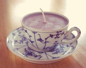 Teacup Candle - Vintage German China Cup with Blue Design filled with Lilac Soy Wax Candle