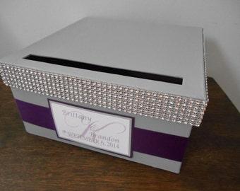 Gray Wedding Card Box Modern Glam Card Box Gift Card Holder Reception Cardbox Purple Plum Rhinestone Wedding Bling Wedding Personalized