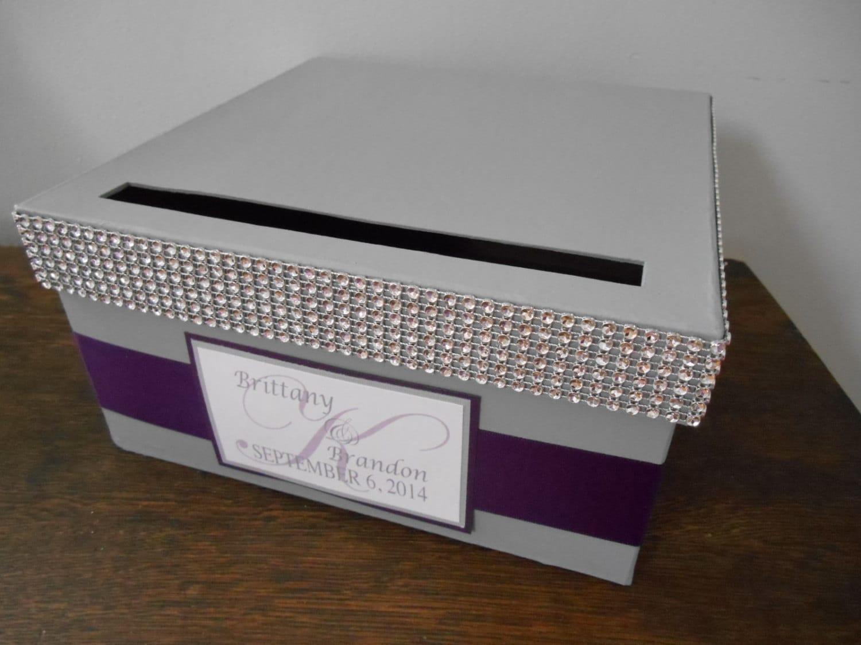 Card Gift Box Wedding: Gray Wedding Card Box Modern Glam Card Box Gift Card Holder