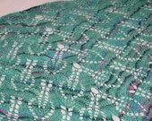 Hand Knit Gail (aka Nightwing) Shawl In Light Green Silk and Wool