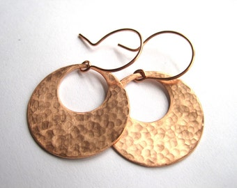 Hammered Copper Disks, Miminalist Jewelry, Hand Forged Earrings, 7th Anniversary Gift, Mothers Day Gift, Copper Anniversary, Earthy Earrings